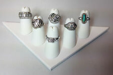 Two 6 Finger Ring Display White Faux Leather Jewelry Showcase Rings Triangle