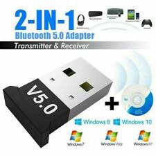 2in1 USB Bluetooth 5.0 Wireless Music Adapter Dongle Receiver for Win10/8/7 PC