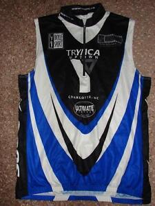 SUGOI White Black Blue Cycling Shirt Charolotte Running Co Trymca Uptown XL