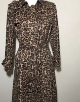 NWOT Few Moda New York Faux Suede Trench Coat Jacket Size XS Leopard Cheetah