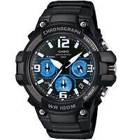 Casio MCW-100H-1A2 Analog Men's Watch Chronograph Black Blue Heavy Duty 100M WR