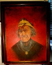 Native American Indian genuine oil painting antique proud man signed 1920's