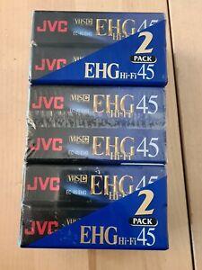 JVC 45 COMPACT 6 PACK VHS EHG VHS-C PAL SECAM TAPE- BLANK SEALED NEW EC-45