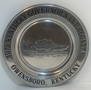 1975 OWENSBORO REGATTA GOVERNORS CUP Kentucky Hydroplane Boat Pewter Award Plate