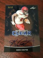 2018 Leaf Trinity Clear Auto Blue Keke Coutee Texas Tech Texans WR #'d 21/25