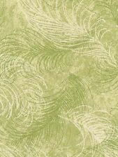 Multi Green & Off White Feathers Wallpaper 687062