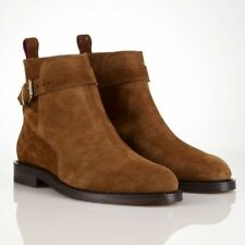 New Handmade Mens Jodhpur Brown Suede Ankle High Welted Sole Boots, Men Boots