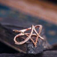 hochzeit schmuck verlobung runde cubic zirkonia rose vergoldet kreuz ring