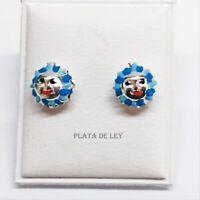 PENDIENTES niña PLATA DE LEY 925 SOLES 8 mm tonos azules  Nuevos
