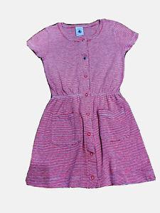Petit Bateau Girls Pink Striped Dress Size 3