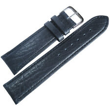 18mm Mens Fluco Record Blue Buffalo-Grain Leather German Made Watch Band Strap