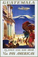 Guatemala Via Pan American Vintage Travel Art Print Mural Poster 36x54 inch