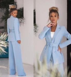 Sky Blue Women Pants Suit Formal Evening Party Tuxedo for Wedding 2 pieces
