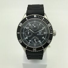 Mens Fossil Black Rubber Band Black Dial Day and Date Defender Watch DEC1007