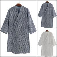 Mens Womens Japanese Yukata Cotton Bathrobe Dressing Gown Kimono Pajamas Costume