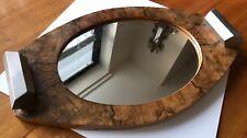 Rare André Sornay Bauhaus Fruitwood Mirrored Tray w/ Chrome Handles, c1930