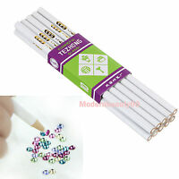 10 X White Wooden Point Pen Wax Picking Tool Pencil for Nail Art Rhinestone Bead