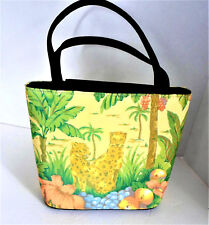 Jungle Scene Purse Tote Leopards Structured Canvas Beaded Double Strap Handle