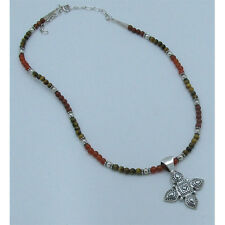 QVC Sterling Silver Natural Tigers Eye Carnelian Red Jasper Cross Necklace