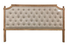 Chardin Bedhead King Upholstered Fabric Button Timber Frame Beige Headboard