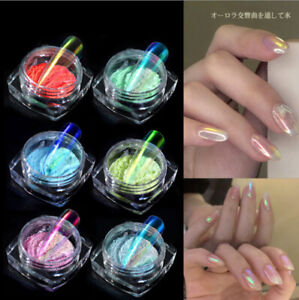 6 Boxes Nail Powder Iridescent Rainbow Glitter Pigment Powder Dust Nail Art Tips