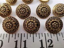 VINTAGE BUTTONS SET OF 12 ANTIQUE GOLD METAL DUZ100