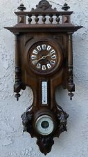 ANTIQUE FRENCH WALL CLOCK WITH BAROMETER AND TERMOMETER