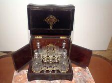ANCIENNE CAVE À LIQUEUR  NAPOLEON III en bois noirci verres en cristal