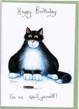 Mark Denman cat greeting card  Happy Birthday go on spoil yourself  blank inside