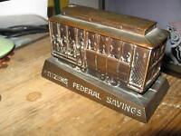 Citizens Federal Savings San Francisco CA Cable Car Copper Banthrico 1960 Bank