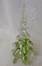 Vintage Green Ribbon Swirl Crystal Solid Art Glass Christmas Tree
