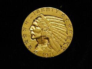 1911-S  $5.00 Indian Head Gold Half Eagle - XF+