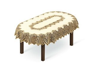 """Tablecloth large oval lace cream/dark gold 55"""" x 87""""(140x220cm) perfect present"""