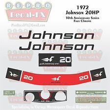 1972 Johnson 20HP Sea Horse Outboard Reproduction 8 Pc Marine Vinyl Decals 20R72
