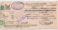 Recibo de La Unión y El Fenix timbrado y sellado Sevilla año 1938 (DA-930)