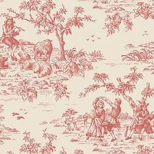 Norwall Small Red Garden Toile on Beige Wallpaper CG28800