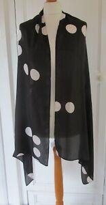JIGSAW Black & White Spotted Silk Scarf / Shawl / Wrap