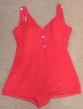 Womens Red Cotton Surf Togs Swimsuit One Piece Red w Fabric Button Accents 1950s