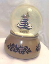 PFALTZGRAFF FOLK ART BLUE & TAN SNOW GLOBE CHRISTMAS TREE BIRD SILENT NIGHT