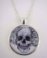 Vintage Skull and Flowers Silver Plated Necklace New in Gift Bag Halloween