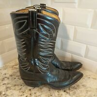 Tony Lama Western Cowboy Boots Mens 10D Mid Calf Pointed Toe Leather Black
