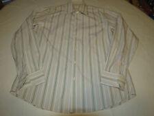 Mens Hugo Boss 16 34/35 striped long sleeve shirt white multi casual EUC@