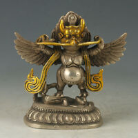 Exquisite Chinese OLD Tibetan Silver Copper Gilt Carved Thunder God Statue RNN