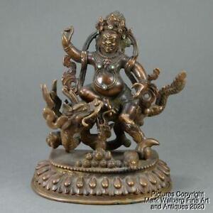 Tibetan Bronze Figure of a Deity on Dragon, Lotus Base, 19/20th Century