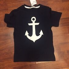H&M Boys Size 4-6 Year Navy Blue White Anchor Graphic Tee Shirt NWT