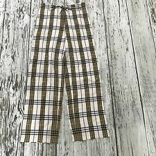 NEW BURBERRY Cream Brown Gold Check Trousers Loose Fit Summer Size UK 8 08500