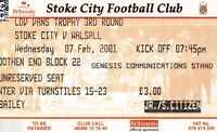Ticket - Stoke City v Walsall 07.02.01