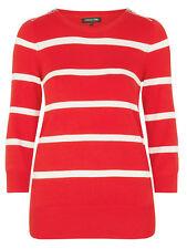 DEBENHAMS LADIES RED / WHITE STRIPED ZIP SHOULDER DETAIL JUMPER NEW (ref 492)