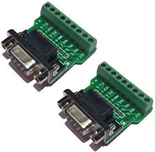 Sysly DB9 RS232 Serial To Terminal Female Adapter Connector Breakout Board 2Pcs