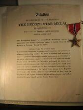 Army Bronze star medal to Huerd & citation Vietnam 68-69